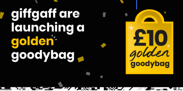 giffgaff introduces a new £10 'golden goodybag' offering 3GB more data